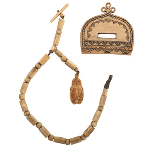 Eskimo Carved Walrus Ivory Watch Fob and Lapp Carved Purse Clasp