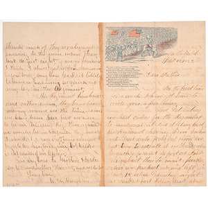 Civil War Soldiers' Letters to Family on Patriotic and Traditional Stationary, Incl. an ALS from Gettysburg Veteran Capt. Willam H. Broughton of the 16th ME Inf. Co. D and a Soldier on the Fields of Petersburg Who Mentions Lincoln's Visit to the Front
