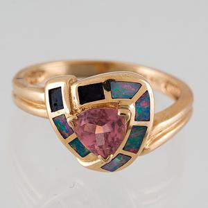 Pink Tourmaline and Inlaid Opal Ring in 14 Karat