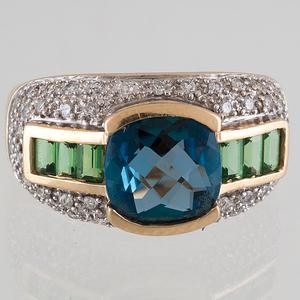 Blue Topaz and Tsavorite Garnet Ring with Diamonds