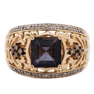 Iolite and Cognac Diamond Ring in 14 Karat Gold