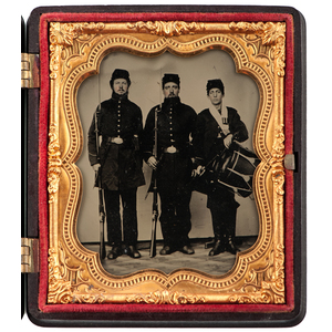 Civil War Sixth Plate Ambrotype of Three Soldiers, Including a Drummer and Two Armed with Muskets