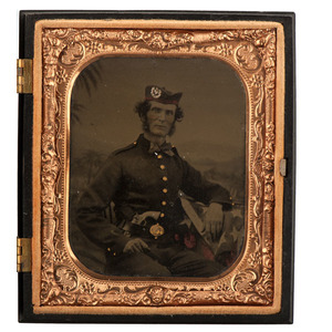 Sixth Plate Tintype of Armed Union Soldier Wearing a Glengarry Cap