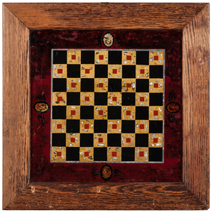 Reverse-Painted Game Boards with Portrait Medallions