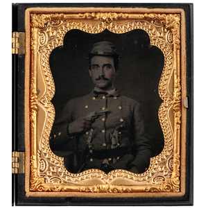 Civil War Sixth Plate Tintype of Heavily-Armed Confederate Soldier