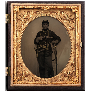Civil War Sixth Plate Tintype of an Armed Union Musician
