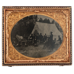 Half Plate Tintype of Camp Willard, GAR Reunion Encampment
