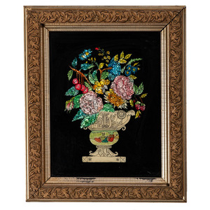 Reverse Painted Foil Floral Still Lifes
