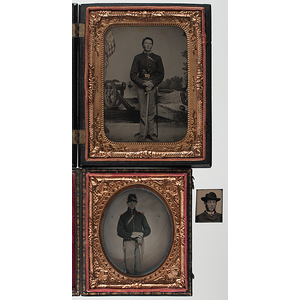 Quarter Plate Tintype and Sixth Plate Ambrotype of Two Young Union Soldiers With Swords, Plus