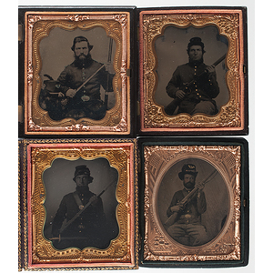 Four Sixth Plate Tintypes of Union Soldiers With Their Rifles