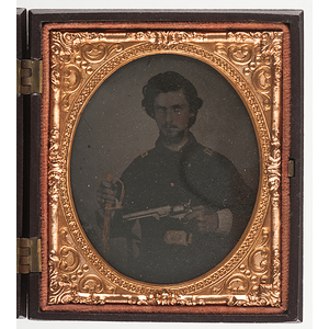 Sixth Plate Tintype of a Union Officer Armed with Colt Navy Revolver and Cavalry Sword