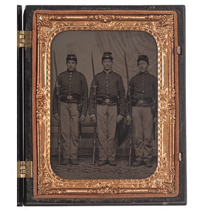 Quarter Plate Tintype of Three Union Soldiers Standing at Attention With Their Rifles and Bayonets