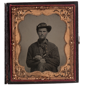 Sixth Plate Tintype of Union Soldier Holding His Pipe and Pistol