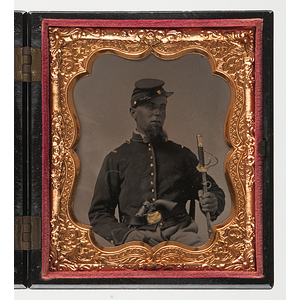 Sixth Plate Tintype of a Doubly Armed Union Cavalryman with a Glass Eye