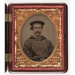 Ninth Plate Ruby Ambrotype of a Union Sailor Wearing his Ship's Cap Band