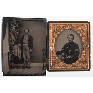 Civil War Ambrotype & Tintype of Soldiers Wearing VI Corps Badges
