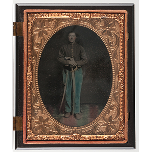 Quarter Plate Hand Colored Tintype of a Doubly Armed Private