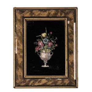 Reverse Painted Floral Still Lifes with Foil