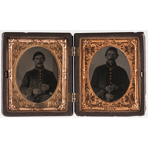 Civil War Patriotic Union Case Containing Tintypes of Brother Soldiers