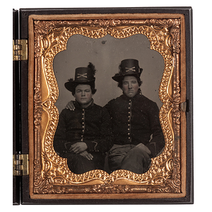 Sixth Plate Ambrotype of Two Union Cavalrymen Wearing Hardee Hats