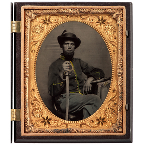 Civil War Quarter Plate Tintype of an Armed Union Cavalryman