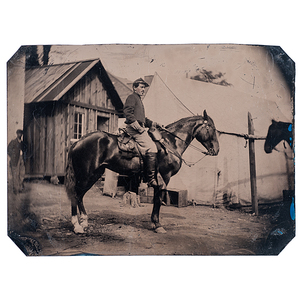 Civil War Quarter Plate Tintype of a Mounted Cavalry Soldier