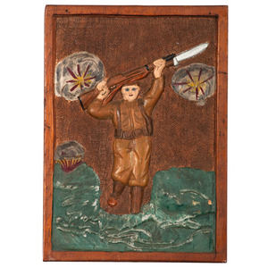 Folk Art Carved and Painted WWI Plaque