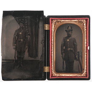 Tintypes of Union Corporals Posed with the American Flag
