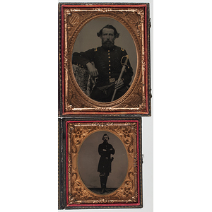 Quarter Plate Tintype of a Union Lieutenant, Plus