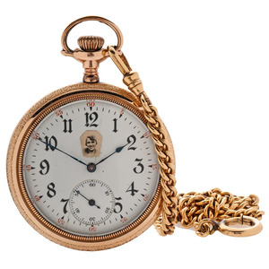 Illinois Open Face Pocket Watch with Chain