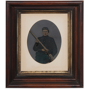 Civil War Hand-Colored Whole Plate Tintype of an Armed Union Soldier