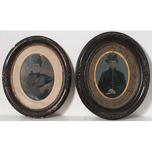 Two Whole Plate Tintypes of Soldiers Wearing Infantry Hardee Hats