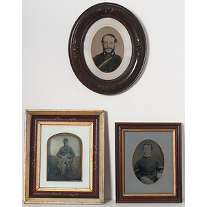 Civil War Framed Whole Plate Tintype Enlargements of Union Soldiers