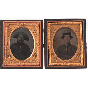 Civil War Ninth Plate Ambrotypes of Union Soldiers Wearing Unusual Hats