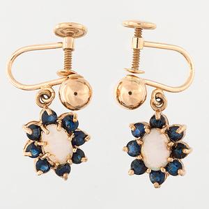 Opal and Sapphire earrings in 14 Karat Yellow Gold