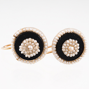 Onyx and Pearl Earrings in 14 Karat Yellow Gold