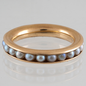 Pearl Eternity Ring in 14 Karat Yellow Gold