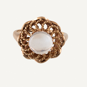 Ring in 14 Karat Yellow Gold with Moonstone