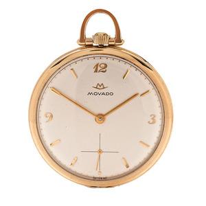 Movado Open Face Pocket Watch in 14 Karat Yellow Gold