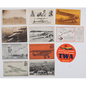 Early Aviation, Large Group of Real Photo and Lithographed Postcards and Trade Cards, Incl. Views of Pilots, Clippers, Airports, & More