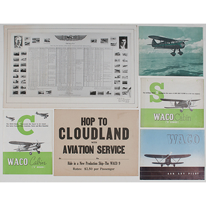 WACO Aircraft Company Advertising Sign and Pamphlets Plus, Ca 1924-1940s