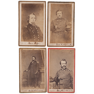 Civil War Generals McCook, Rousseau, Nelson, & Pope, Four CDVs by Webster & Bro., Louisville