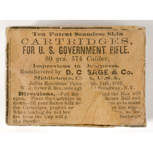Empty Box For Ten Patent Seamless Skin Cartridges For U.S. Government Rifle