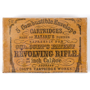 Original Label on Wood Block for Colt Revolving Rifle