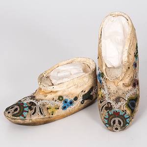 Northern Cree Beaded Hide Moccasins from a Minnesota Collection