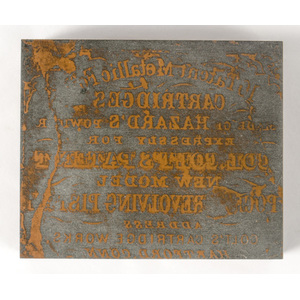 Early Printing Block Used by Colt Cartridge Works