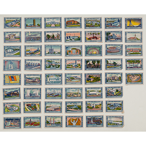 Unused New York World's Fair Stamps and Souvenir Talcum Powder Dresser Box, 1939-1940