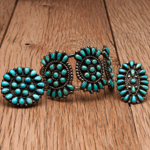 Zuni Cluster Turquoise Bracelet, Pin, and Ring