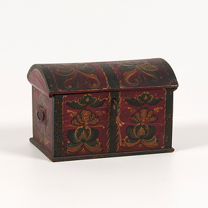 Paint Decorated Miniature Dome-Top Box