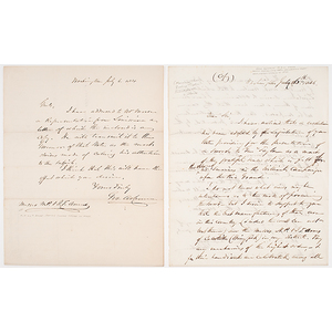 Letter to Ames Mfg. Co Regarding Presentation Sword for Gen. Zachary Taylor's Mexican War Victory